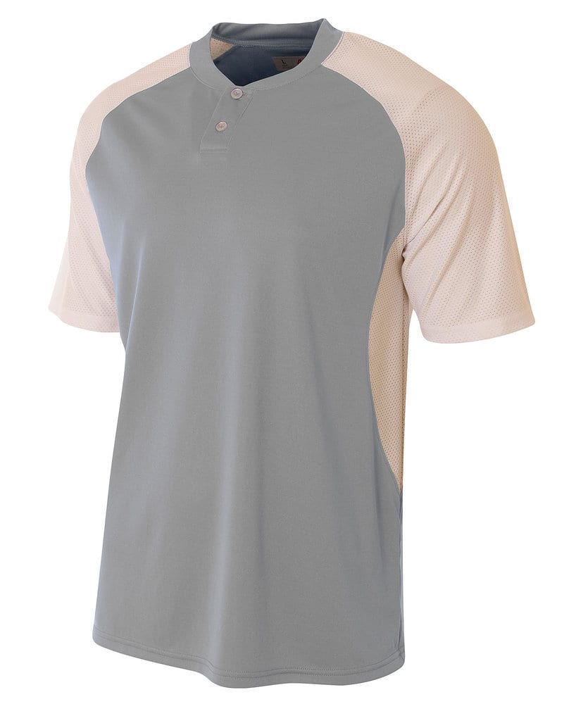 A4 A4N3315 - Adult 2-Button Henley w/ Contrast Stretch Mesh
