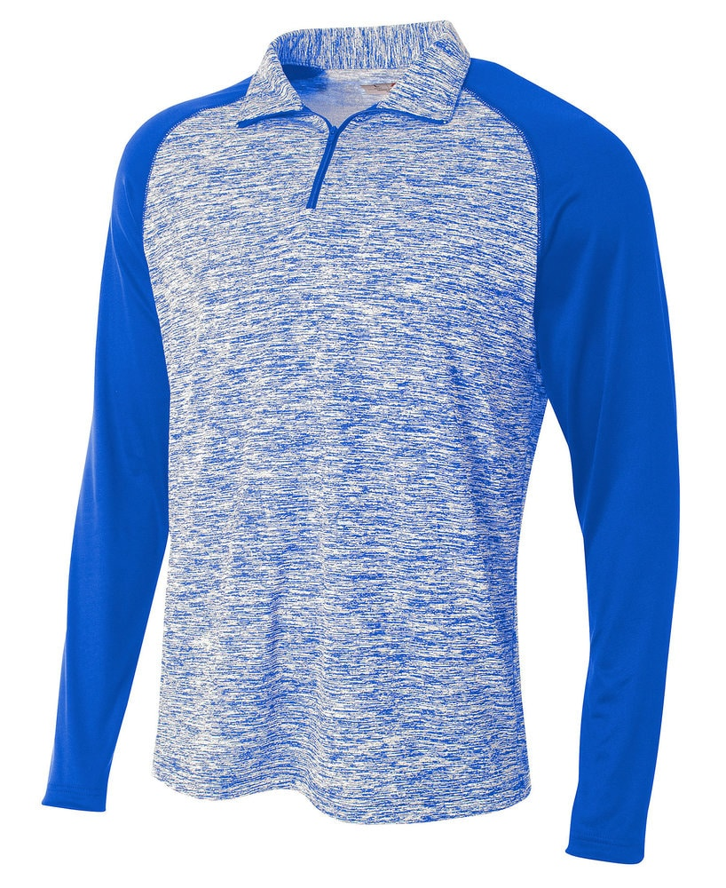 A4 A4N4249 - Adult Space Dye Long Sleeve 1/4 Zip with Contrast Sleeves