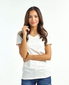 J. America JA8136 - Ladies Glitter V-Neck Tee