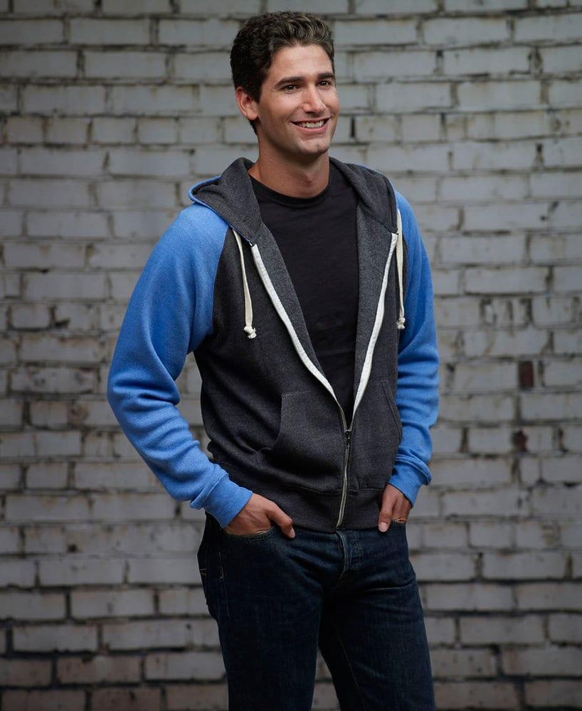 J. America JA8874 - Adult Tri-blend Colorblock Full Zip Fleece Hood