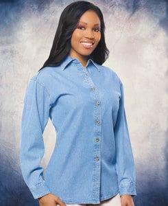 Sierra Pacific SP5211 - Sierra Pacific Ladies Long Sleeve Denim Shirt