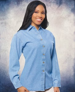 Sierra Pacific SP5211 - Sierra Pacific Ladies Long Sleeve Denim Shirt