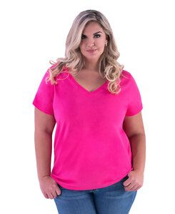 LAT LA3807 - Ladies Curvy V-Neck Jersey Tee