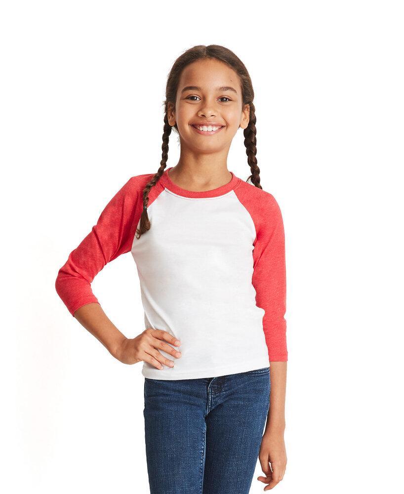 Next Level NL3352 - Remera de mangas Raglan 3/4 de cuello redondo para jóvenes