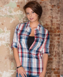Burnside BN5222 - Ladies Plaid Pattern Woven Shirt