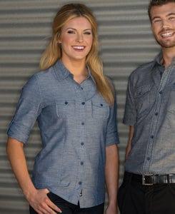 Burnside BN5255 - Ladies 3/4 Sleeve Chambray Shirt
