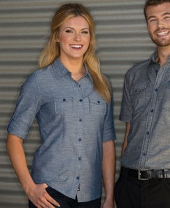 Burnside BN5255 - Ladies 3/4 Sleeve Chambray Shirt