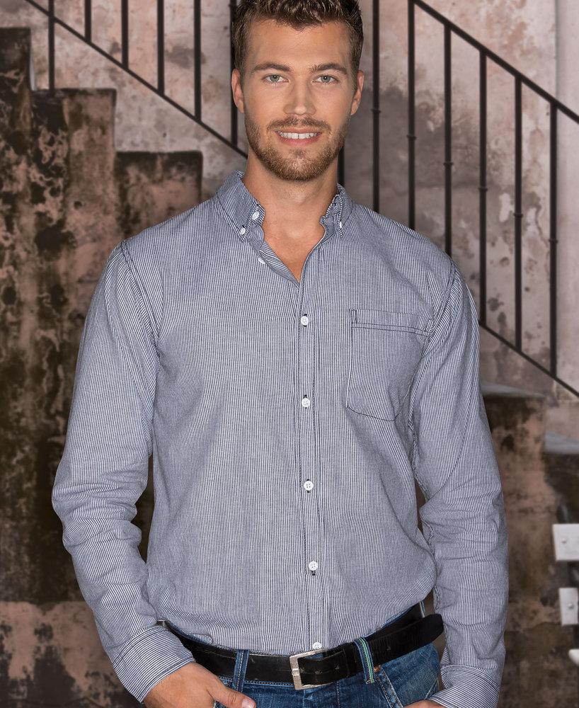 Burnside BN8259 - Adult Long Sleeve Stretch Stripe Woven Shirt