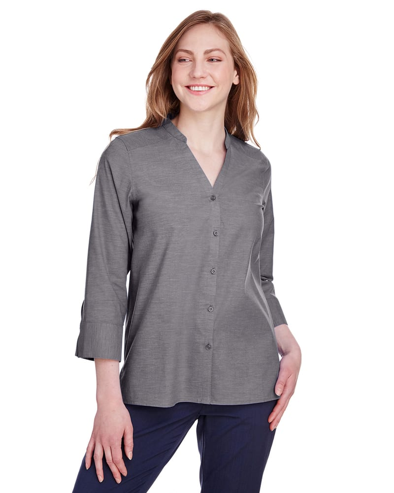 Devon & Jones DG562W - Ladies Crown Collection Stretch Pinpoint Chambray 3/4 Sleeve Blouse