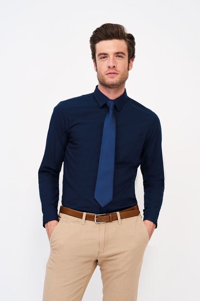 Sol's 02922 - Chemise Homme Popeline Manches Longues Baltimore Fit