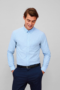 Sols 02920 - Heren Oxford Blouse Lange Mouwen Boston Fit