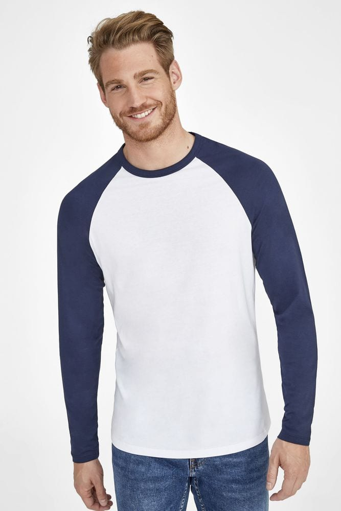 Sol's 02942 - Men's Two Colour T Shirt With Long Raglan Sleeves Funky Lsl