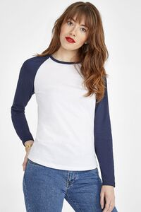 Sols 02943 - Womens Two Colour T Shirt With Long Raglan Sleeves Milky Lsl