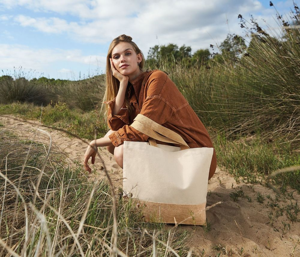 Westford mill WM451 - Cotton / jute shopping bag