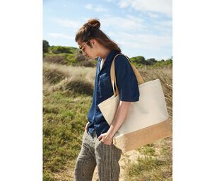 Westford mill WM452 - JUTE BASE CANVAS TOTE XL