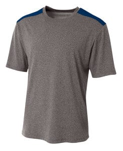 A4 A4N3100 - Tourney Heather Short Sleeve Color Block Crew