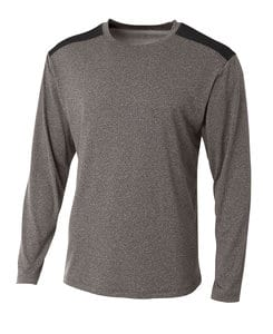 A4 A4N3101 - Adult Tourney Heather Long Sleeve Color Block Crew