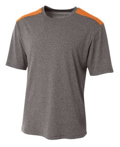 A4 A4NB3100 - Youth Tourney Heather Short Sleeve Color Block Crew