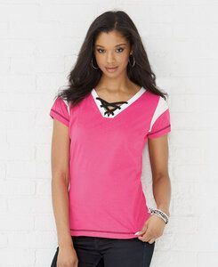 LAT LA3533 - LAT Ladies Gameday Lace-Up Fine Jersey Tee