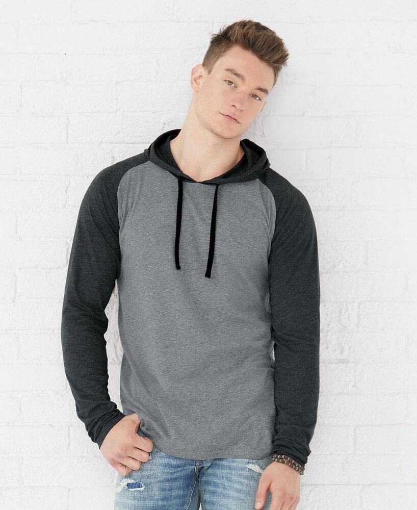 LAT LA6917 - LAT Men's Hooded Raglan Long Sleeve Fine Jersey Tee