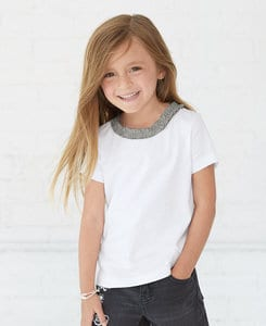 Rabbit Skins LA3329 - Toddler Girls Ruffle Neck Fine Jersey Tee