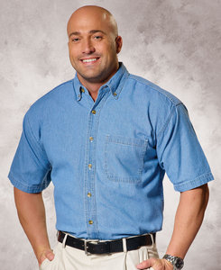 Sierra Pacific SP0211 - Sierra Pacific Mens Cotton Denim Short Sleeve Shirt