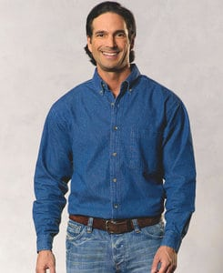 Sierra Pacific SP3211 - Sierra Pacific Mens Long Sleeve Cotton Denim Shirt