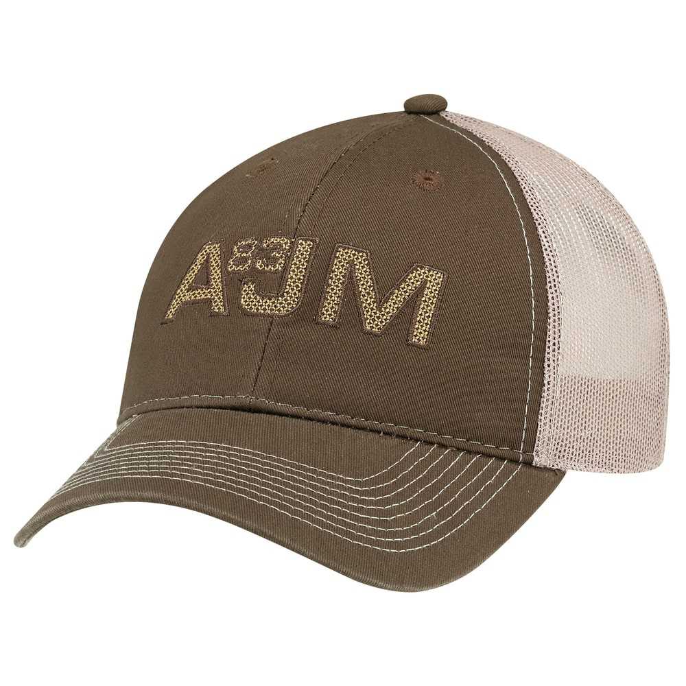 AJM 6H647M - Enzyme Washed Deluxe Chino Twill / Soft Nylon Mesh 6 Panel Constructed Full-Fit (Mesh Back)