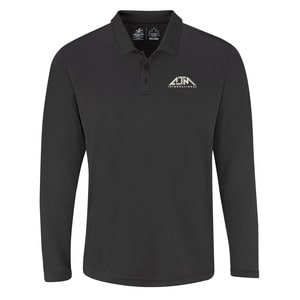 AJM PM1901 - Mens Performance Long Sleeve Polos 100% Polyester Pique Knit. 155g/m2 - 4.5oz/yd2