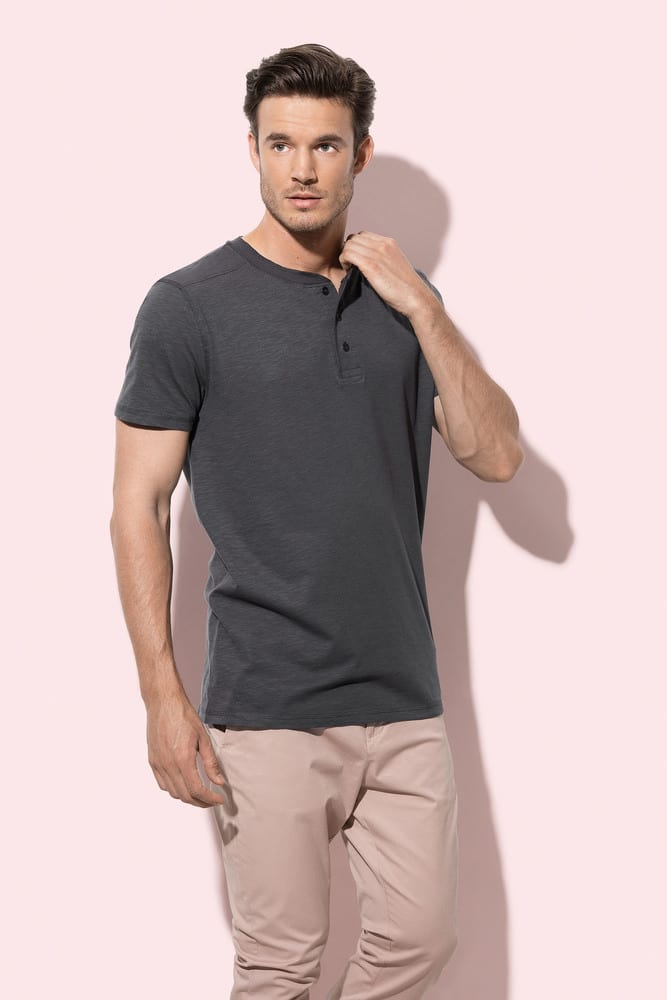 Crew neck T-shirt with buttons for men Stedman