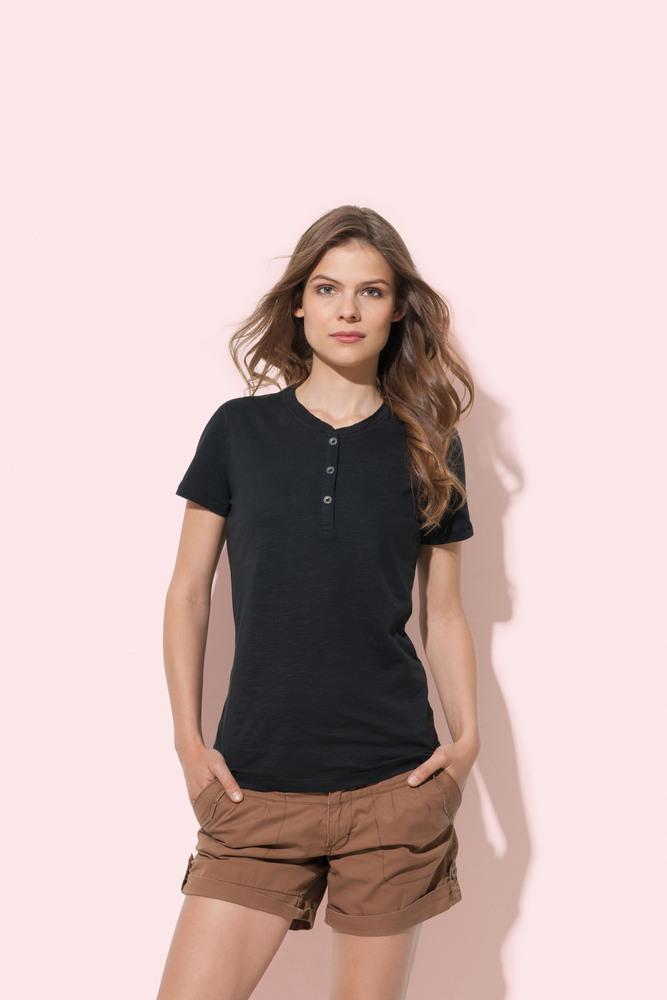 Stedman STE9530 - Tee-shirt à col rond avec boutons pour femmes Sharon SS