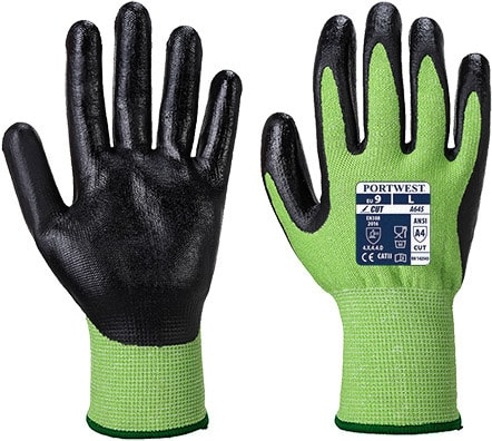 Portwest A645 - Green Cut Glove - Nitrile Foam