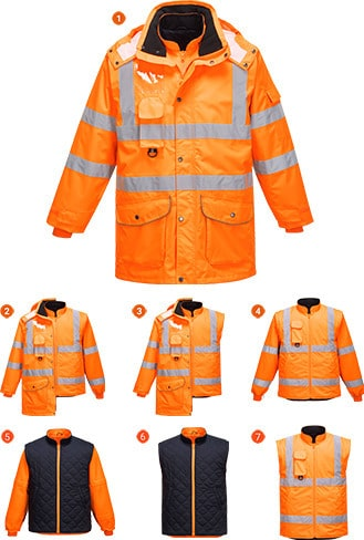 Portwest URT27 - Hi-Vis 7in1 Jacket