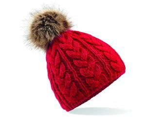 Beechfield BF410 - Pop Pom Braided Beanie with Fur Pompon