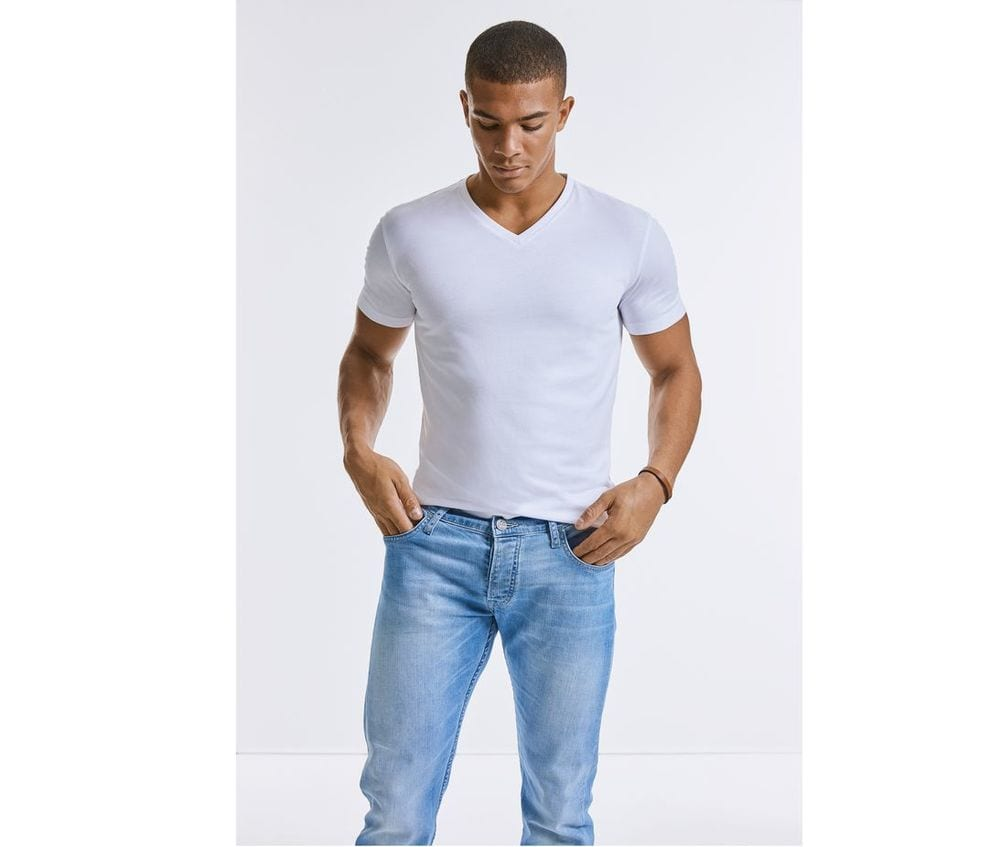 RUSSELL RU103M - Men's organic V-neck T-shirt