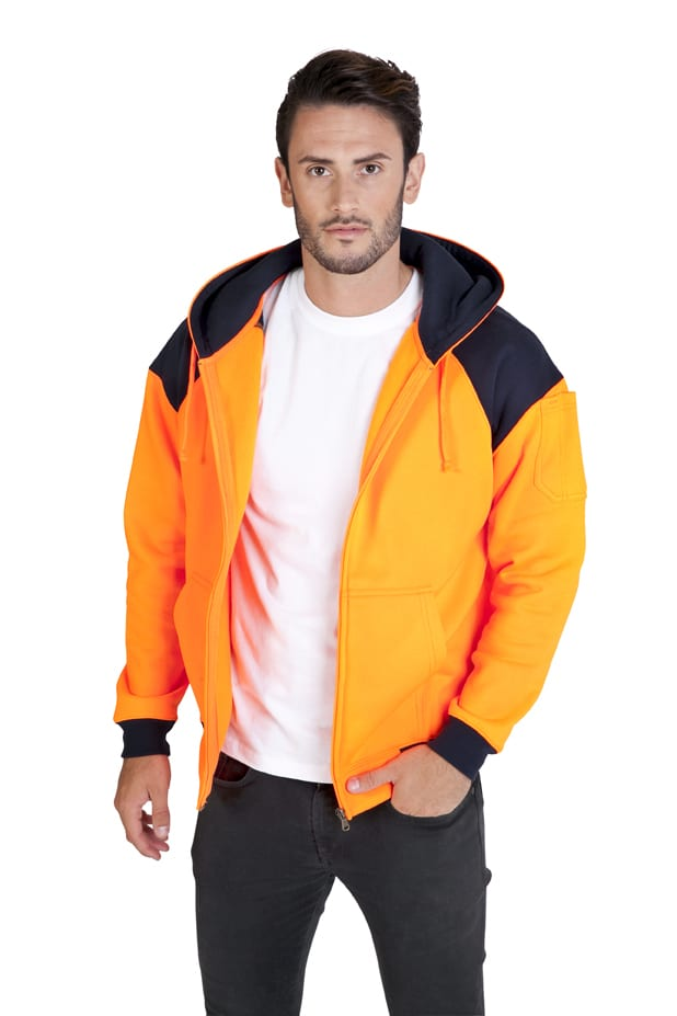 Ramo F303HZW - Men Shoulder Contrast Zipper Hoodies - WORKWEAR