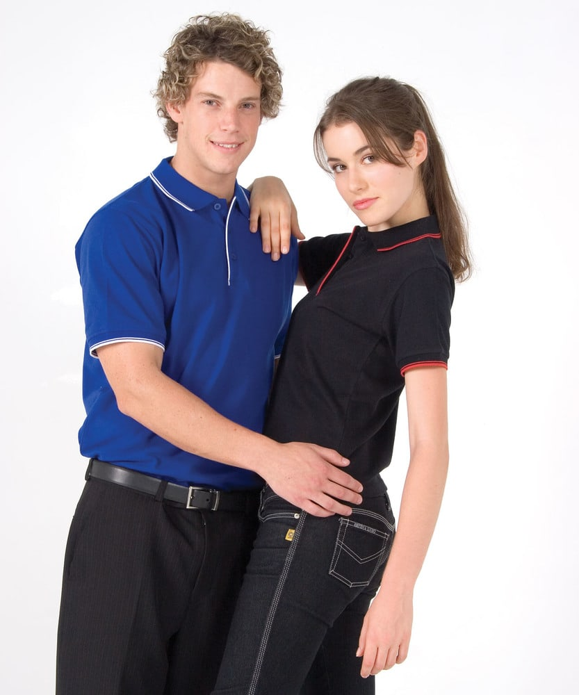 Ramo P814HB - Mens Double Stripe Trim Collar Polo