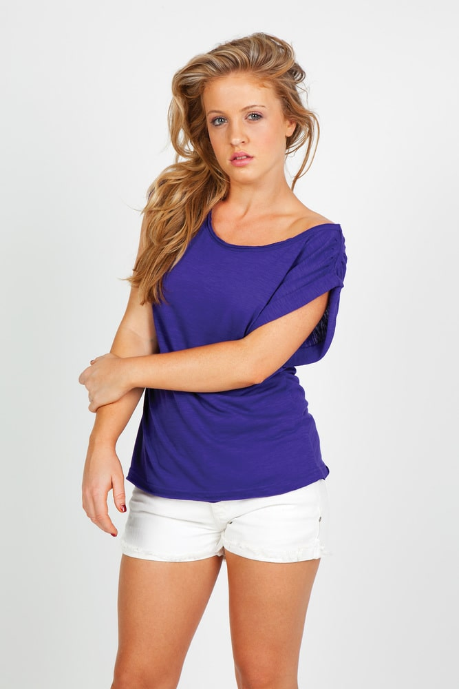 Ramo T915LD - Ladies Wide and Distressed  Rib Neck Tee