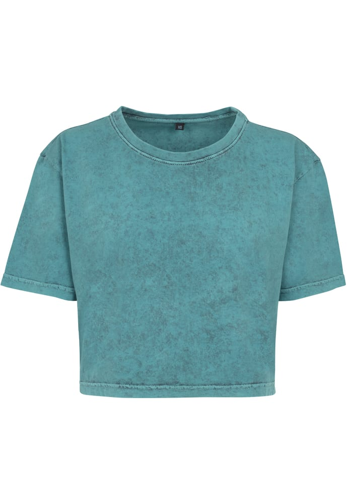 Build Your Brand BY054 - Ladies Acid Washed Cropped Tee