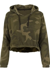 Build Your Brand BY065 - Sweat court à capuche Camo Femme