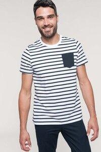 Kariban K378 - T-shirt manica corta a righe stile marinaio con tasca