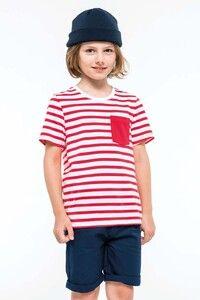 Kariban K379 - T-shirt rayé marin avec poche manches courtes enfant