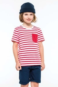 Kariban K379 - Kids striped short sleeve sailor t-shirt with pocket