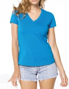 Kariban K390 - Ladies short-sleeved V-neck T-shirt