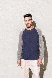 Kariban K491 - Mens two-tone organic crew neck raglan sleeve sweatshirt