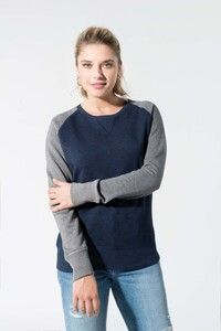 Kariban K492 - Ladies two-tone organic crew neck raglan sleeve sweatshirt