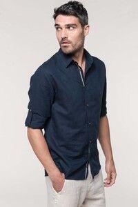 Kariban K588 - Camisa de lino de manga larga para hombre