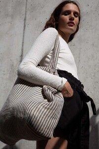 Kimood KI0236 - Gestreifte Shoppingtasche aus Juco