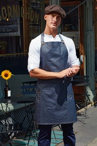 Premier PR134 - District - Waxed look denim bib apron
