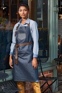 Premier PR136 - Division - Waxed look denim bib apron with faux leather